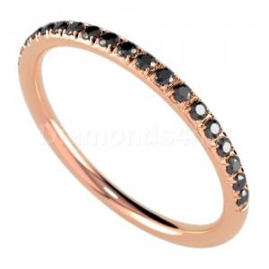 """טבעת""""רומנטיק"""" זהב אדום ויהלומים שחורים"""