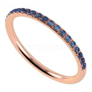"""טבעת""""רומנטיק"""" בזהב אדום וספיר כחול"""