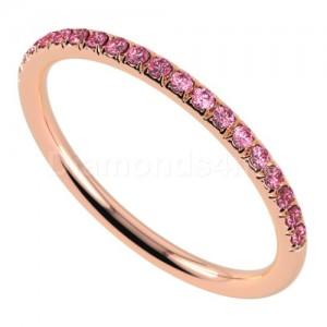 """טבעת""""רומנטיק"""" בזהב אדום וספיר ורוד"""