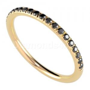 """טבעת""""רומנטיק"""" זהב צהוב ויהלומים שחורים"""