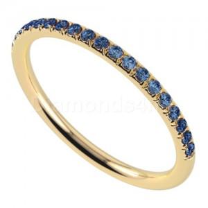 """טבעת""""רומנטיק"""" בזהב צהוב וספיר כחול"""