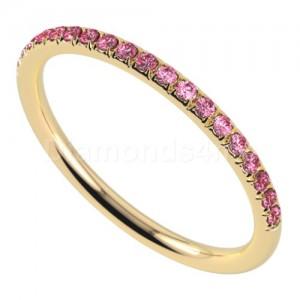 """טבעת""""רומנטיק"""" בזהב צהוב וספיר ורוד"""