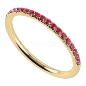 """טבעת""""רומנטיק"""" בזהב צהוב ורובי"""