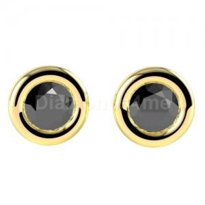 זוג עגילי יהלומים שחורים בזהב צהוב בשיבוץ כוס
