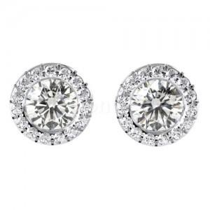 זוג עגילי יהלומים מרהיבים בזהב לבן
