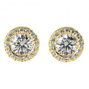 זוג עגילי יהלומים מרהיבים בזהב צהוב