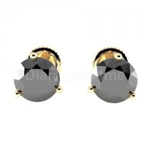 עגילי מרטיני שלוש שיניים זהב צהוב ויהלום שחור