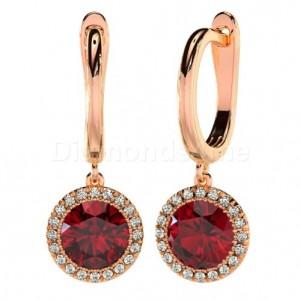 עגילי זהב אדום דגם פגוניה משובצים יהלומים וגרנט