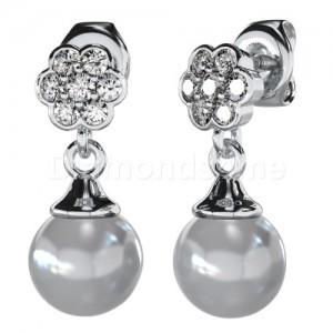 עגילי יהלומים לבנים ופנינה לבנה בזהב לבן