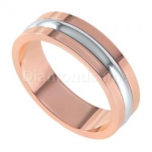 טבעת נישואים אסקו זהב אדום ולבן