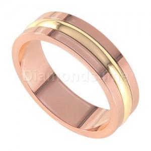 טבעת נישואים אסקו זהב אדום וצהוב