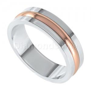 טבעת נישואים אסקו זהב לבן ואדום