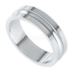 טבעת נישואים אסקו זהב לבן