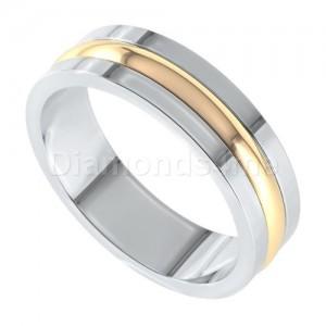 טבעת נישואים אסקו זהב לבן וצהוב