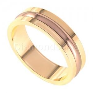 טבעת נישואים אסקו זהב צהוב ואדום
