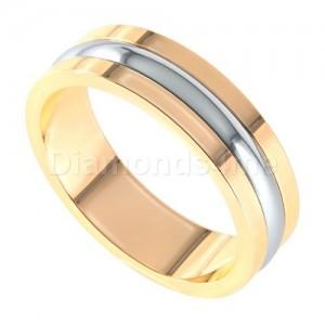 טבעת נישואים אסקו זהב צהוב ולבן