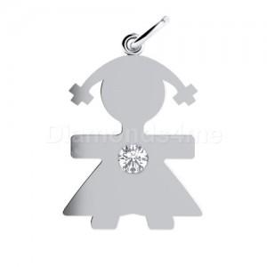 תליון ילדה בזהב לבן משובץ יהלום