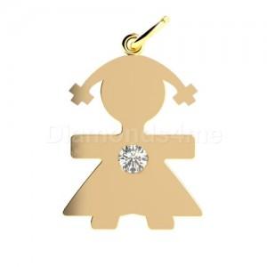 תליון ילדה בזהב צהוב משובץ יהלום