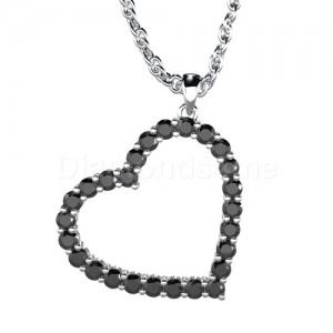 תליון לב יהלומים בזהב לבן ויהלומים שחורים