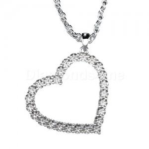 תליון לב יהלומים בזהב לבן ויהלומים