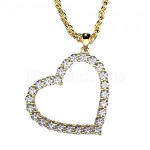 תליון לב יהלומים בזהב צהוב ויהלומים