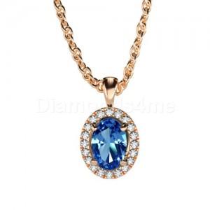 תליון אובל יהלומים וספיר כחול בזהב אדום