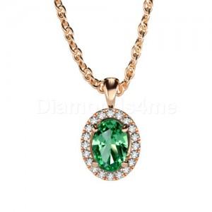 תליון משובץ יהלומים וטורמלין ירוק בזהב אדום