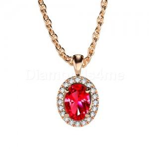 תליון אובל משובץ יהלומים ורובי בזהב אדום