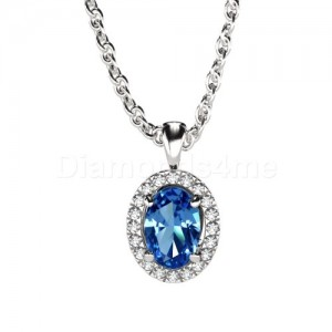 תליון אובל יהלומים וספיר כחול בזהב לבן