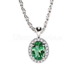 תליון משובץ יהלומים וטורמלין ירוק בזהב לבן