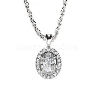 תליון אובל משובץ יהלומים בזהב לבן