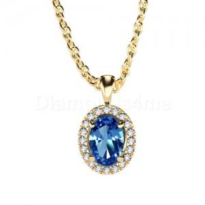תליון אובל יהלומים וספיר כחול בזהב צהוב