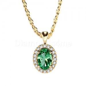 תליון משובץ יהלומים וטורמלין ירוק בזהב צהוב