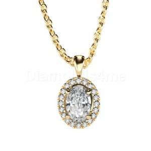 תליון אובל משובץ יהלומים בזהב צהוב