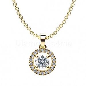 תליון היילו יהלום עגול מוקף יהלומים בזהב צהוב