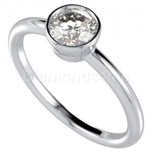 טבעת  אירוסין בזלית בזהב לבן