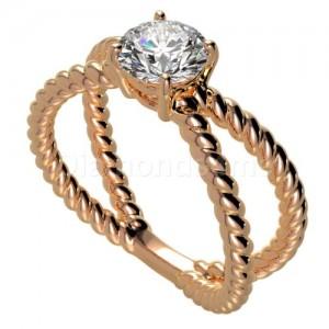 """טבעת """"ספירל"""" בזהב אדום ויהלום לבן"""
