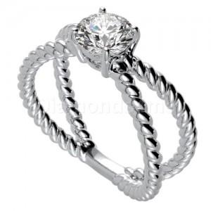 """טבעת """"ספירל"""" בזהב לבן ויהלום לבן"""