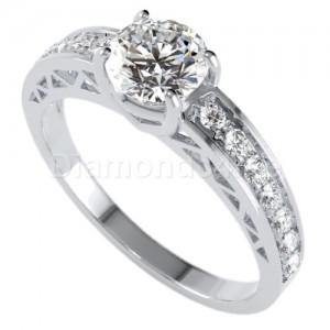 טבעת אירוסין קרולין בזהב לבן