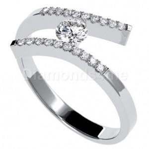 טבעת אירוסין קריסטין בזהב לבן