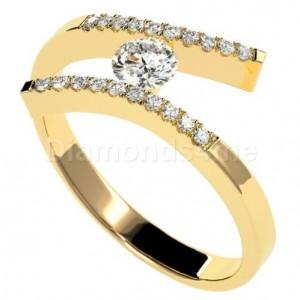 טבעת אירוסין קריסטין בזהב צהוב