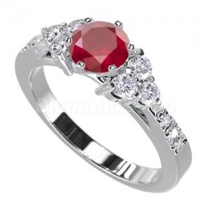 """טבעת """"לימור"""" בזהב לבן יהלומים ורובי"""