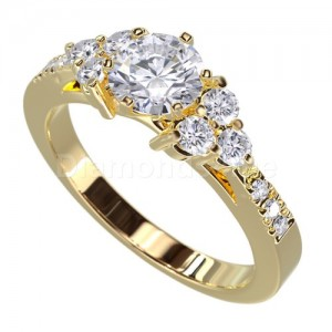"""טבעת """"לימור"""" בזהב צהוב ויהלומים לבנים"""
