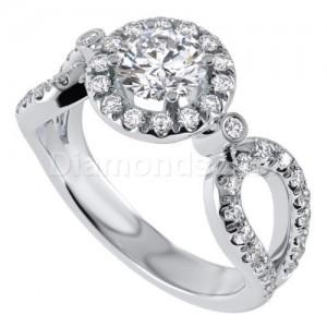 טבעת אירוסין דגם ויויאן בזהב לבן