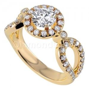 טבעת אירוסין דגם ויויאן בזהב צהוב