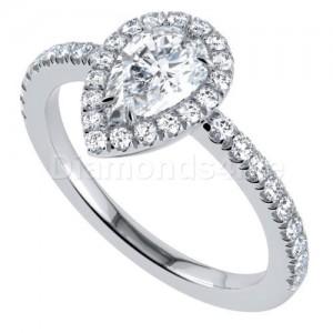 """טבעת אירוסין """"אריסטה"""" בזהב לבן"""