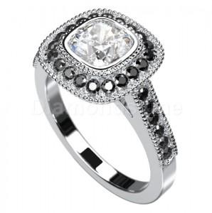 """טבעת """"רולין"""" זהב לבן משובצת יהלומים"""