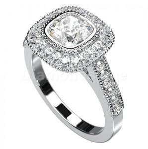 טבעת אירוסין רולין בזהב לבן ויהלומים