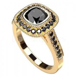 """טבעת """"רולין"""" זהב צהוב יהלומים שחורים"""