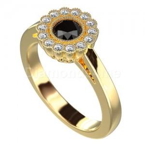 """טבעת """"גרניון"""" זהב צהוב ויהלום שחור"""